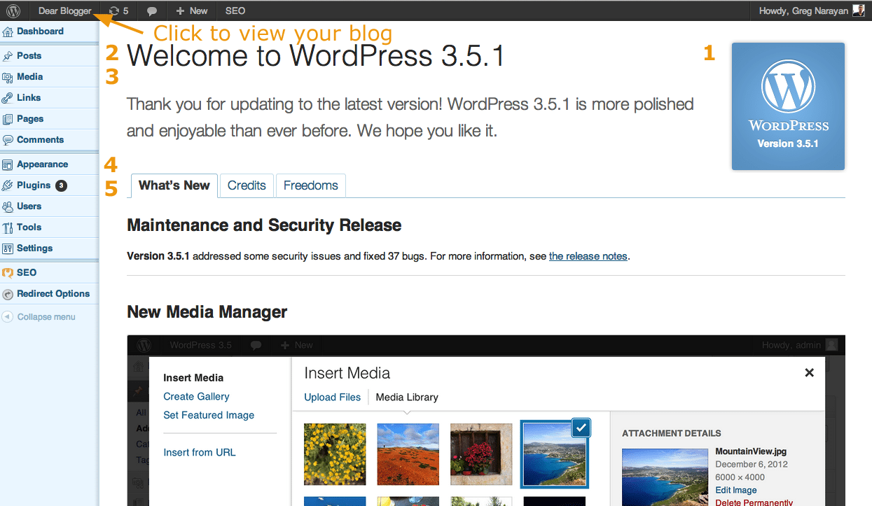 how to use wordpress 3.5.1