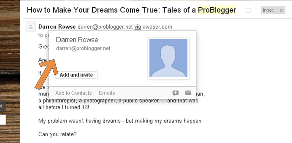 An example of ProBlogger sending from his first name @ ....
