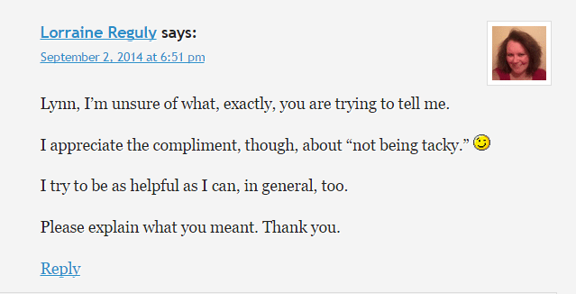 This is a screenshot of part of the conversation on Be A Freelance Blogger.