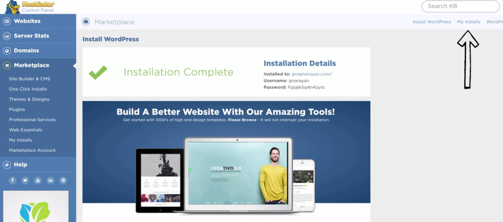 install complete for self hosted wordpress blog