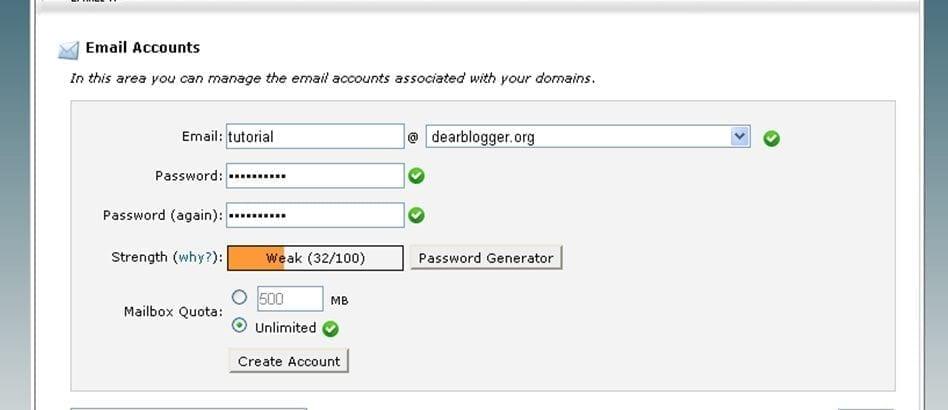 hostgator email setup