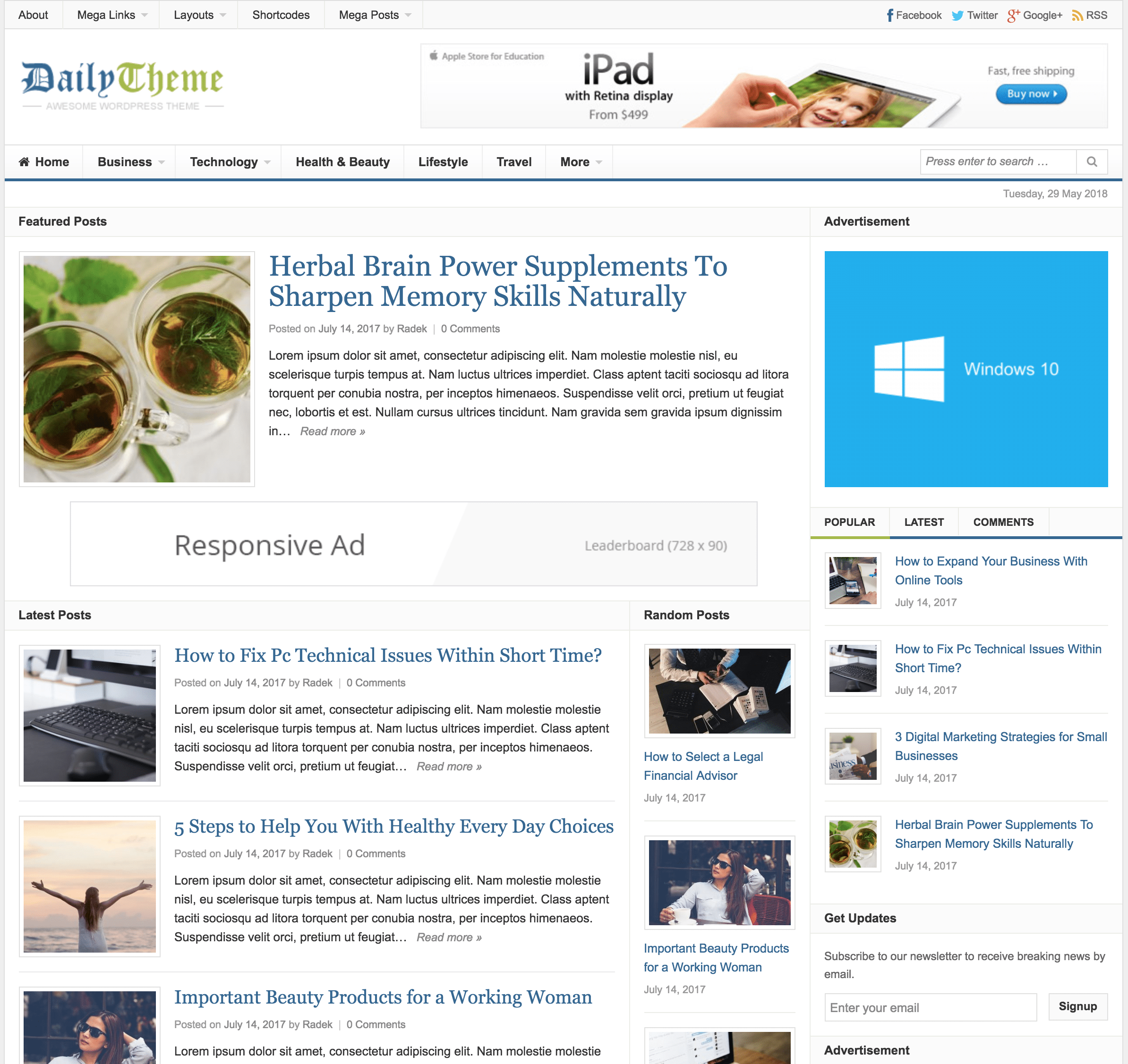daily self hosted blog theme