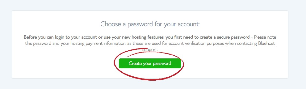 bluehost password at account
