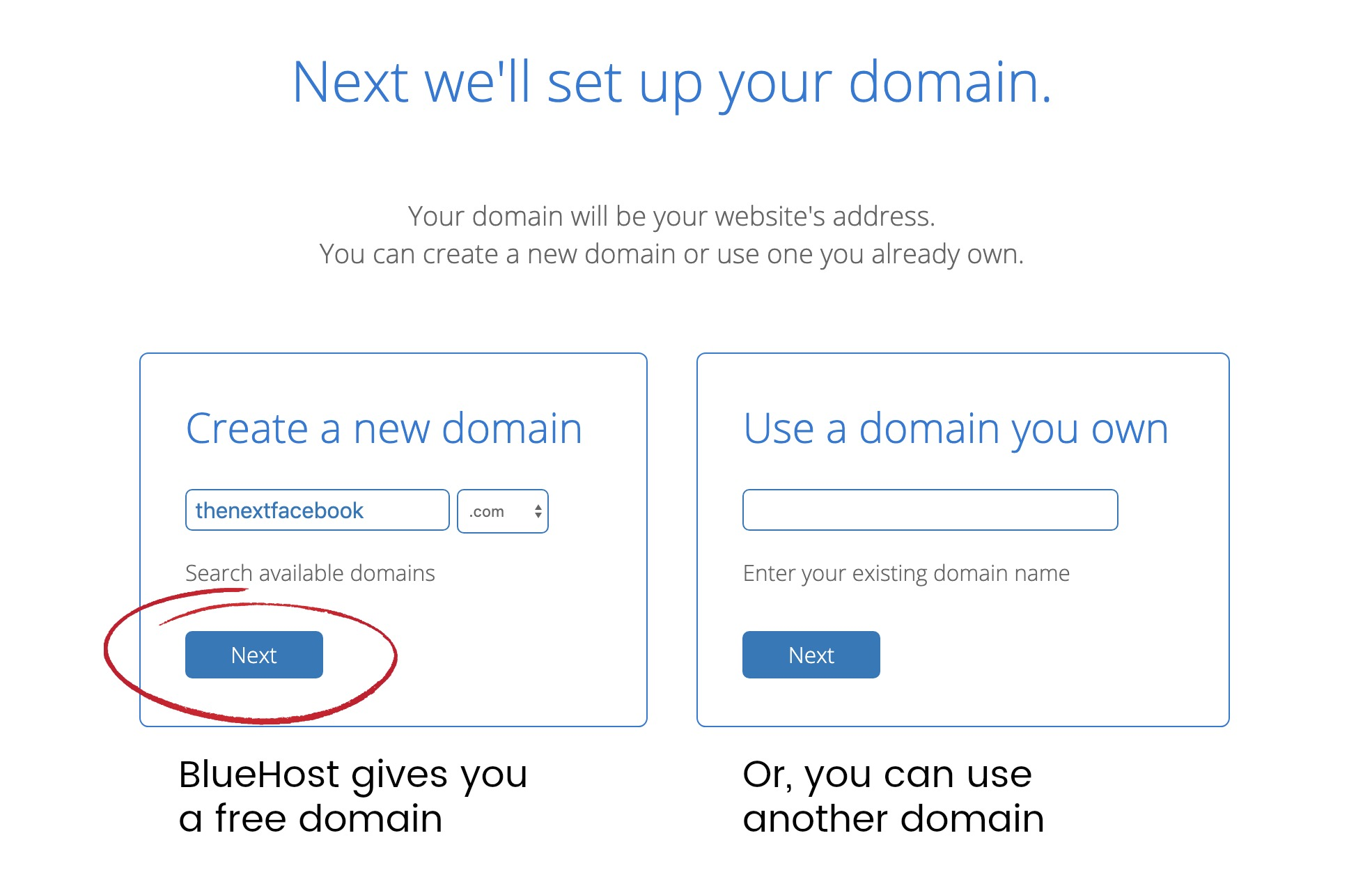choose domain name at bluehost web hosting