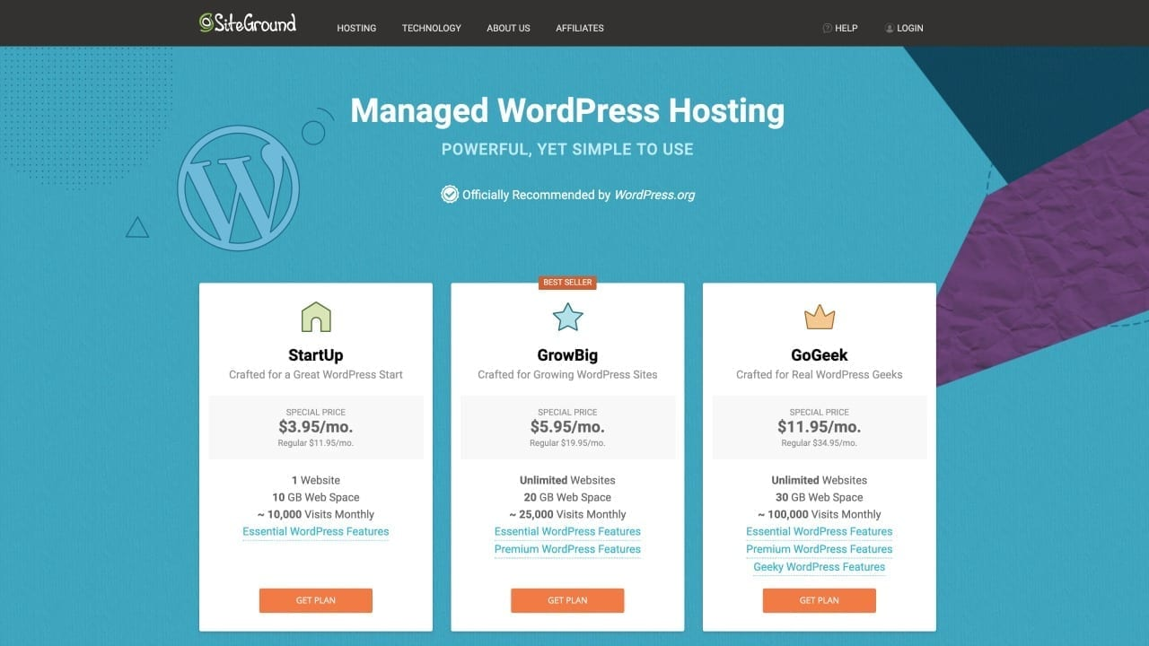 siteground managed wordpress page